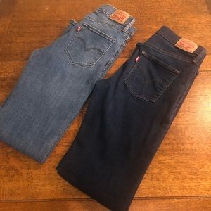 Two pair of Women's Levi's.  Slimming boot cut.
